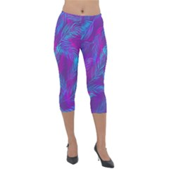 Leaf Pattern With Neon Purple Background Lightweight Velour Capri Leggings