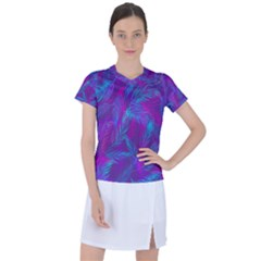 Leaf Pattern With Neon Purple Background Women s Sports Top