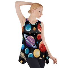Background With Many Planets Space Side Drop Tank Tunic