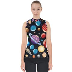 Background With Many Planets Space Mock Neck Shell Top