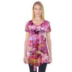 Floral Into Floral L Short Sleeve Tunic