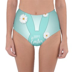Easter Bunny Cutout Background 2402 Reversible High-waist Bikini Bottoms by catchydesignhill