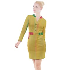 Red, Gold And Green Button Long Sleeve Dress