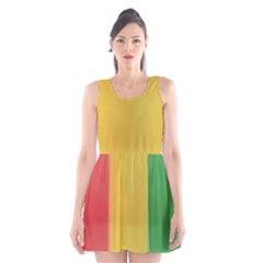 Red, Gold And Green Scoop Neck Skater Dress