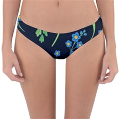 Abstract Wildflowers Dark Blue Background-blue Flowers Blossoms Flat Retro Seamless Pattern Daisy Reversible Hipster Bikini Bottoms