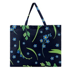 Abstract Wildflowers Dark Blue Background-blue Flowers Blossoms Flat Retro Seamless Pattern Daisy Zipper Large Tote Bag
