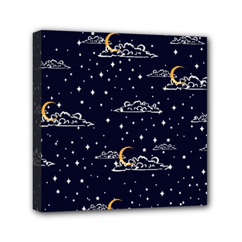 Hand Drawn Scratch Style Night Sky With Moon Cloud Space Among Stars Seamless Pattern Vector Design  Mini Canvas 6  X 6  (stretched)