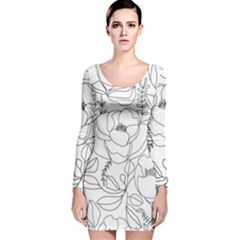 Contemporary Nature Seamless Pattern Long Sleeve Velvet Bodycon Dress