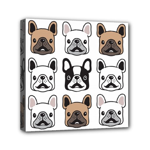 Dog French Bulldog Seamless Pattern Face Head Mini Canvas 6  X 6  (stretched)
