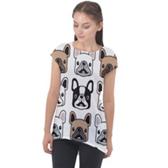 Dog French Bulldog Seamless Pattern Face Head Cap Sleeve High Low Top