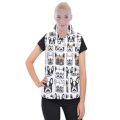 Dog French Bulldog Seamless Pattern Face Head Women s Button Up Vest by BangZart