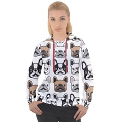 Dog French Bulldog Seamless Pattern Face Head Women s Overhead Hoodie
