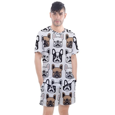 Dog French Bulldog Seamless Pattern Face Head Men s Mesh Tee And Shorts Set by BangZart