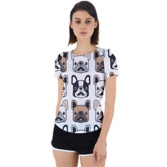 Dog French Bulldog Seamless Pattern Face Head Back Cut Out Sport Tee