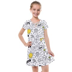Set Cute Colorful Doodle Hand Drawing Kids  Cross Web Dress
