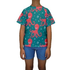 Cute Smiling Red Octopus Swimming Underwater Kids  Short Sleeve Swimwear