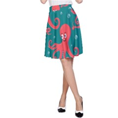 Cute Smiling Red Octopus Swimming Underwater A-line Skirt by BangZart