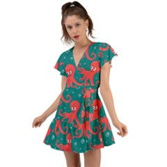 Cute Smiling Red Octopus Swimming Underwater Flutter Sleeve Wrap Dress