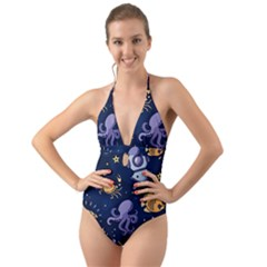 Marine Seamless Pattern Thin Line Memphis Style Halter Cut-out One Piece Swimsuit