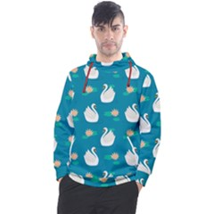 Elegant Swan Pattern With Water Lily Flowers Men s Pullover Hoodie