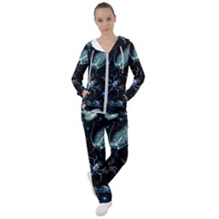 Colorful Abstract Pattern Consisting Glowing Lights Luminescent Images Marine Plankton Dark Background Women s Tracksuit by BangZart