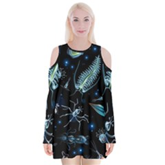 Colorful Abstract Pattern Consisting Glowing Lights Luminescent Images Marine Plankton Dark Background Velvet Long Sleeve Shoulder Cutout Dress