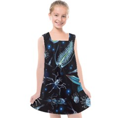 Colorful Abstract Pattern Consisting Glowing Lights Luminescent Images Marine Plankton Dark Background Kids  Cross Back Dress by BangZart