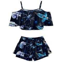 Colorful Abstract Pattern Consisting Glowing Lights Luminescent Images Marine Plankton Dark Background Kids  Off Shoulder Skirt Bikini by BangZart