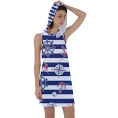 Seamless Marine Pattern Racer Back Hoodie Dress by BangZart