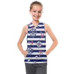 Seamless Marine Pattern Kids  Sleeveless Hoodie by BangZart