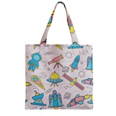 Cute Seamless Pattern With Space Zipper Grocery Tote Bag