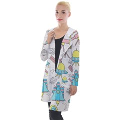 Cute Seamless Pattern With Space Hooded Pocket Cardigan