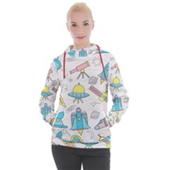 Cute Seamless Pattern With Space Women s Hooded Pullover