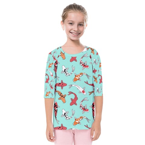Pattern With Koi Fishes Kids  Quarter Sleeve Raglan Tee by BangZart