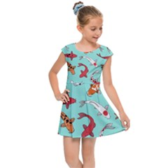 Pattern With Koi Fishes Kids  Cap Sleeve Dress by BangZart