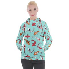 Pattern With Koi Fishes Women s Hooded Pullover