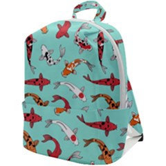 Pattern With Koi Fishes Zip Up Backpack