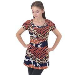 Mixed Animal Skin Print Safari Textures Mix Leopard Zebra Tiger Skins Patterns Luxury Animals Texture Puff Sleeve Tunic Top