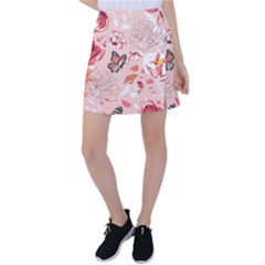 Beautiful Seamless Spring Pattern With Roses Peony Orchid Succulents Tennis Skirt