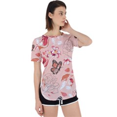 Beautiful Seamless Spring Pattern With Roses Peony Orchid Succulents Perpetual Short Sleeve T-shirt