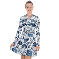 Indigo Watercolor Floral Seamless Pattern Long Sleeve Panel Dress