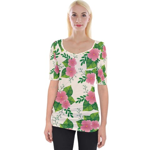 Cute Pink Flowers With Leaves-pattern Wide Neckline Tee by BangZart