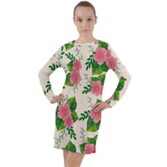 Cute Pink Flowers With Leaves-pattern Long Sleeve Hoodie Dress