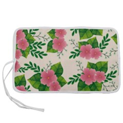 Cute Pink Flowers With Leaves-pattern Pen Storage Case (l)