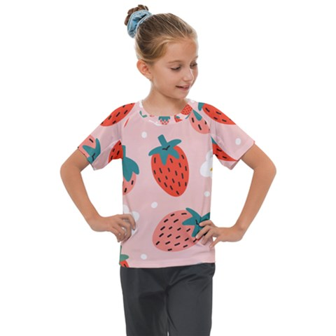 Strawberry Seamless Pattern Kids  Mesh Piece Tee by BangZart