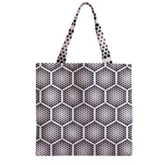 Halftone Tech Hexagons Seamless Pattern Zipper Grocery Tote Bag