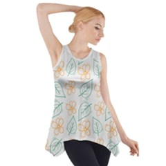 Hand Drawn Cute Flowers With Leaves Pattern Side Drop Tank Tunic