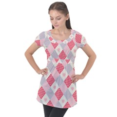 Cute Kawaii Patches Seamless Pattern Puff Sleeve Tunic Top
