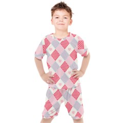 Cute Kawaii Patches Seamless Pattern Kids  Tee And Shorts Set by BangZart