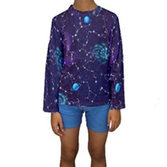 Realistic Night Sky Poster With Constellations Kids  Long Sleeve Swimwear